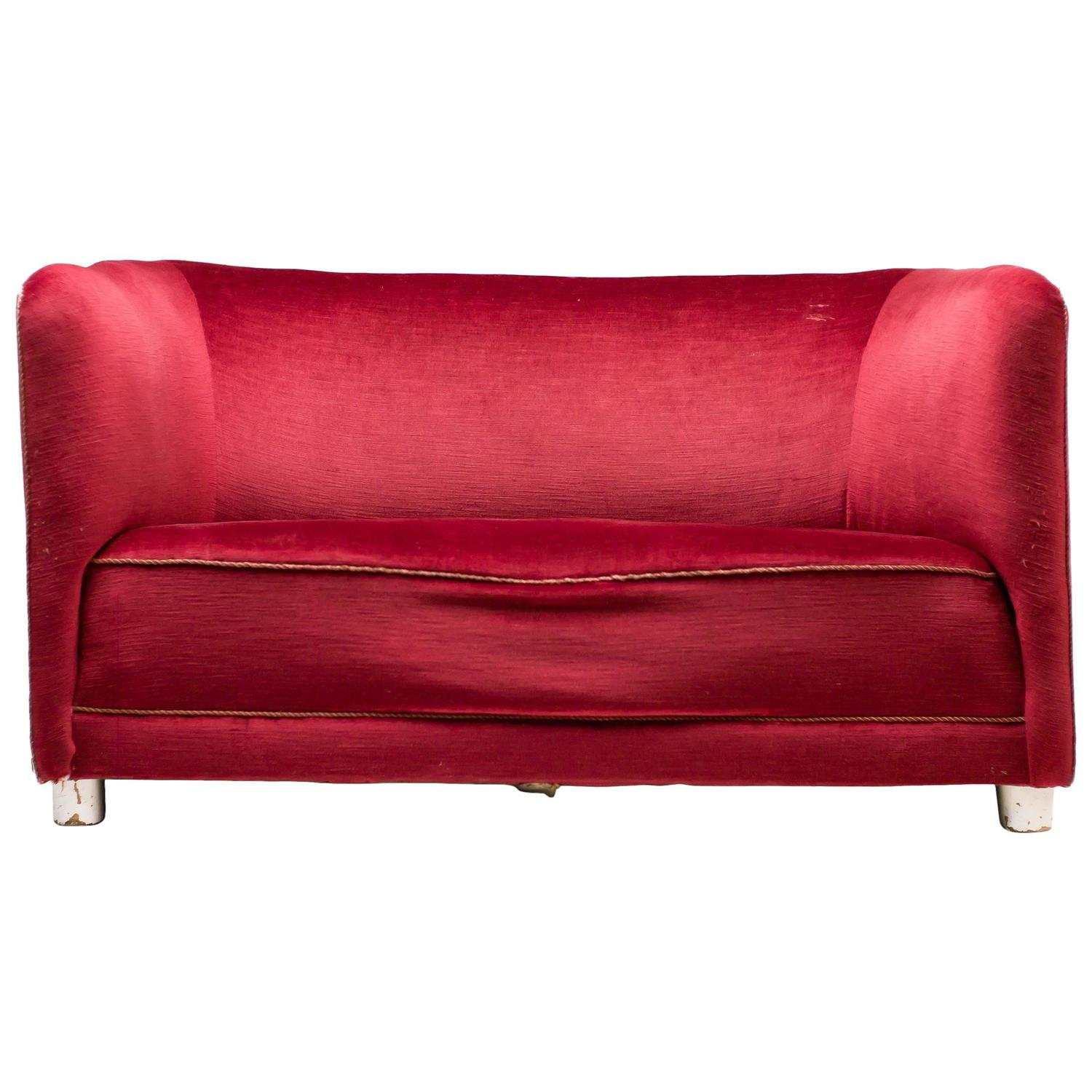 1930s Red Velvet Sofa By Ole Wanscher For Fritz Hansen For Sale At 1stdibs