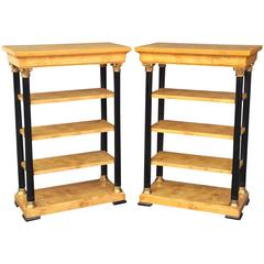 Pair of Biedermeier Style Open Bookcases or Shelves from England