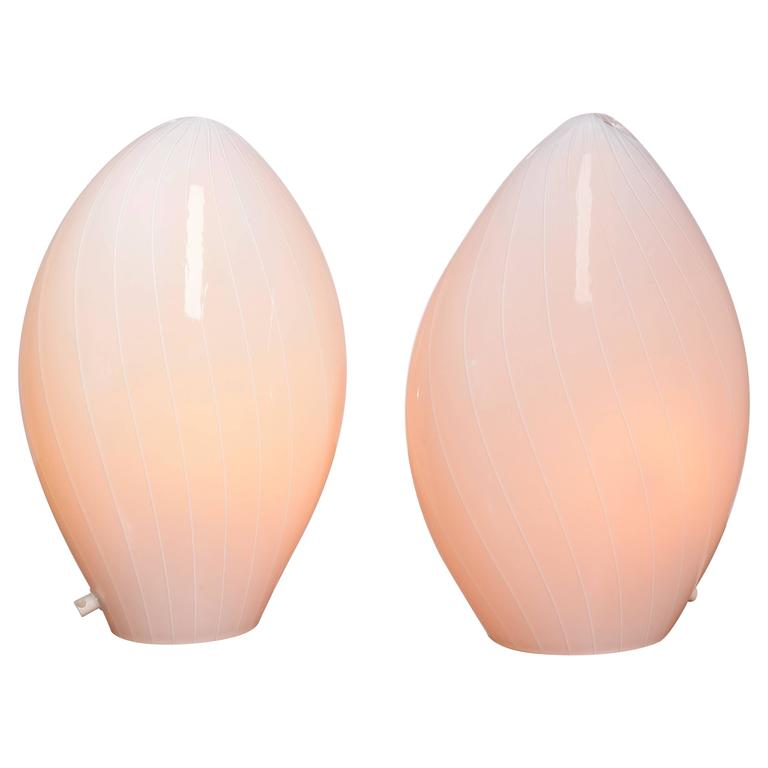 Pair of Italian Modern Vetri Murano Hand Blown Table Lamps For Sale