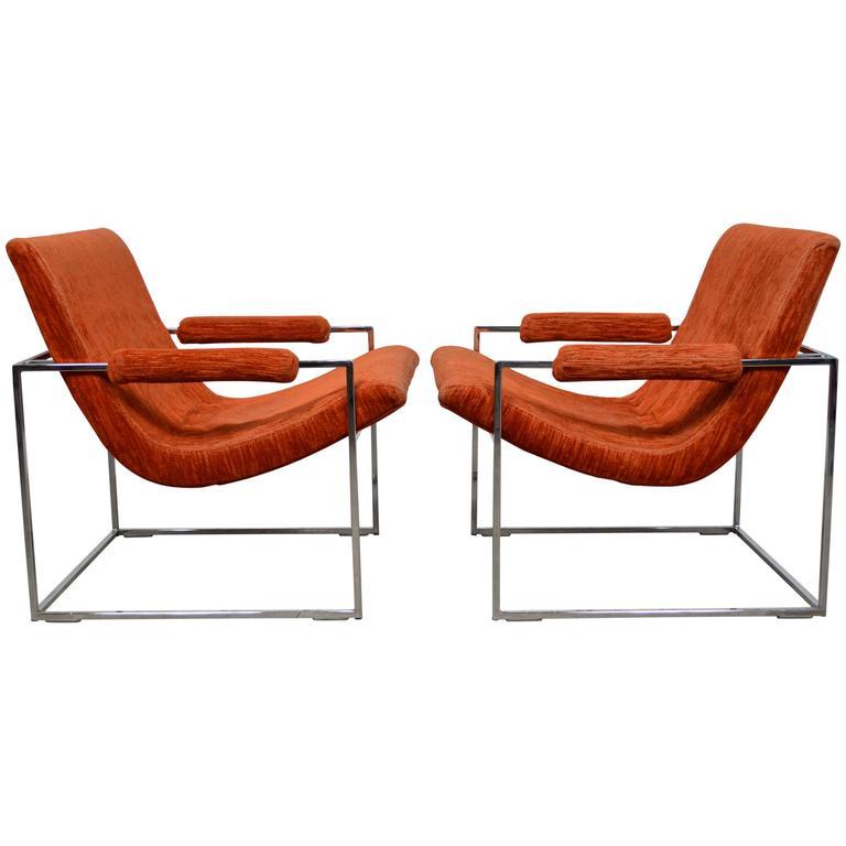 Milo Baughman Chrome Scoop Lounge Chairs 1