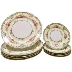 "1930s Japanese Porcelain ""Luxoria"" Scalloped Edge Plate, Set of Ten"