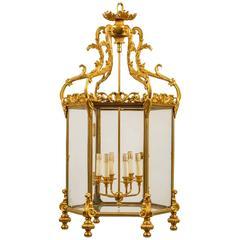 French Gilt Bronze Hexagonal Lantern with Glass Panels