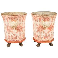 Pair of Large Neoclassical Style Paint Decorated Planters