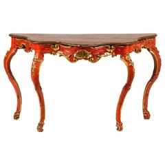 18th Century Venetian Red Painted Parcel-Gilt Serpentine Console Table