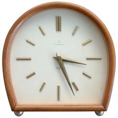 "Junghans Table Clock ""Exacta"" Series in Teak and Brass with Alarm and Hour Chime"
