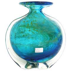 MDINA Art Glass Tall Blue Bottle Vase by Michael Harris
