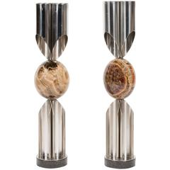 Rare Stainless Steel and Fluorspar Orgues Table Lamps by Maison Charles