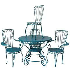 French 1950s Garden Table and Chairs