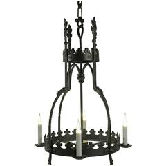 Hanging Lamp in the Gothic Style in Wrought Iron, Beginning of the 20th Century