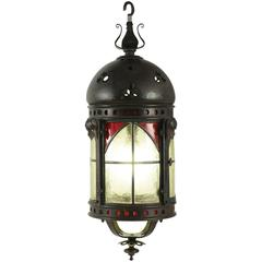 Gohic Single Light Lantern in Wrought Iron and Glass