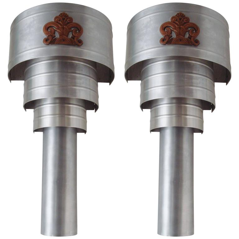 Huge Pair of American Art Deco Theater Sconces in Brushed Aluminium and Bronze.