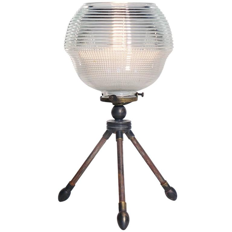 Tripod Holophane Table Lamp For Sale