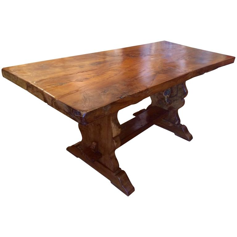 Extremely Rare Burled Yew Wood English Trestle Table For
