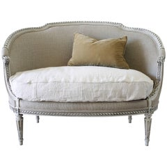 19th Century Carved and Painted Louis XVI Style Settee