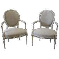 Late 19th Century Carved Louis XVI Style Armchairs