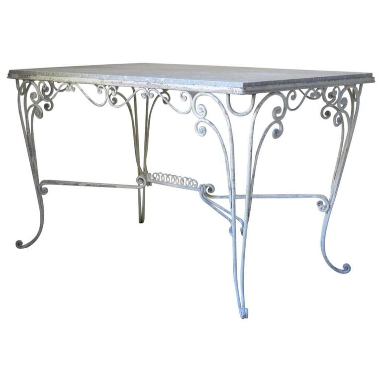 French Iron and Stone Top Dining Table, circa 1950s