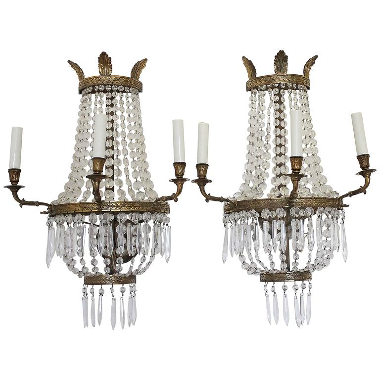 Pair of Beautiful Brass and Crystal Empire Style Sconces