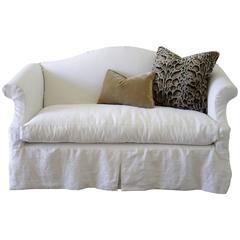 Custom Slip Covered Chippendale Style Loveseat in White Belgian Linen
