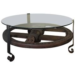 Wooden Wagon Wheel Indutrial Accent Spanish Table with Glass Top
