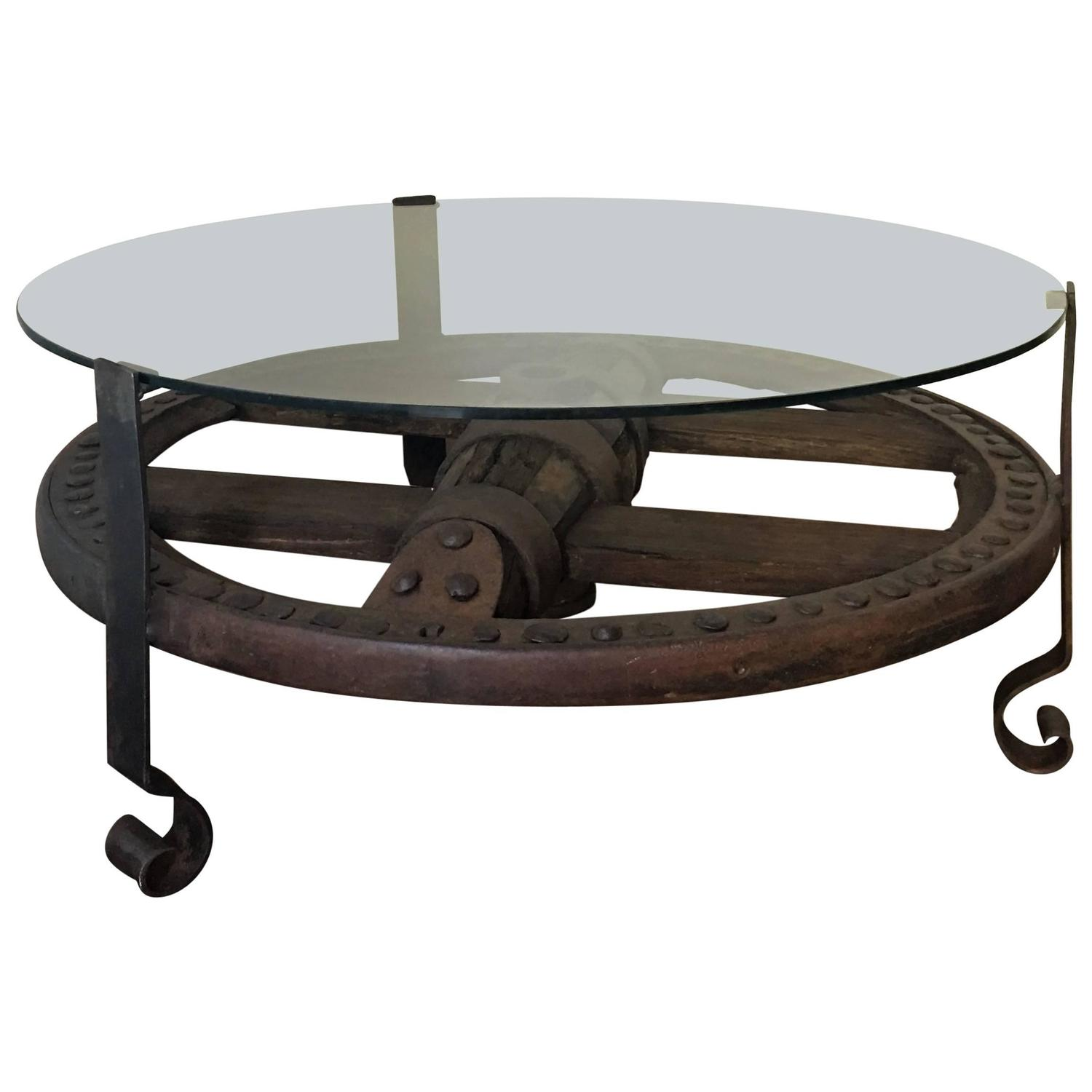 Glass Top Wooden Wagon Wheel Indutrial Accent Table For Sale At 1stdibs