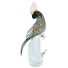 Italian Venetian Parrot Sculpture in Blown Murano Glass, by Alberto Donà, 1980s