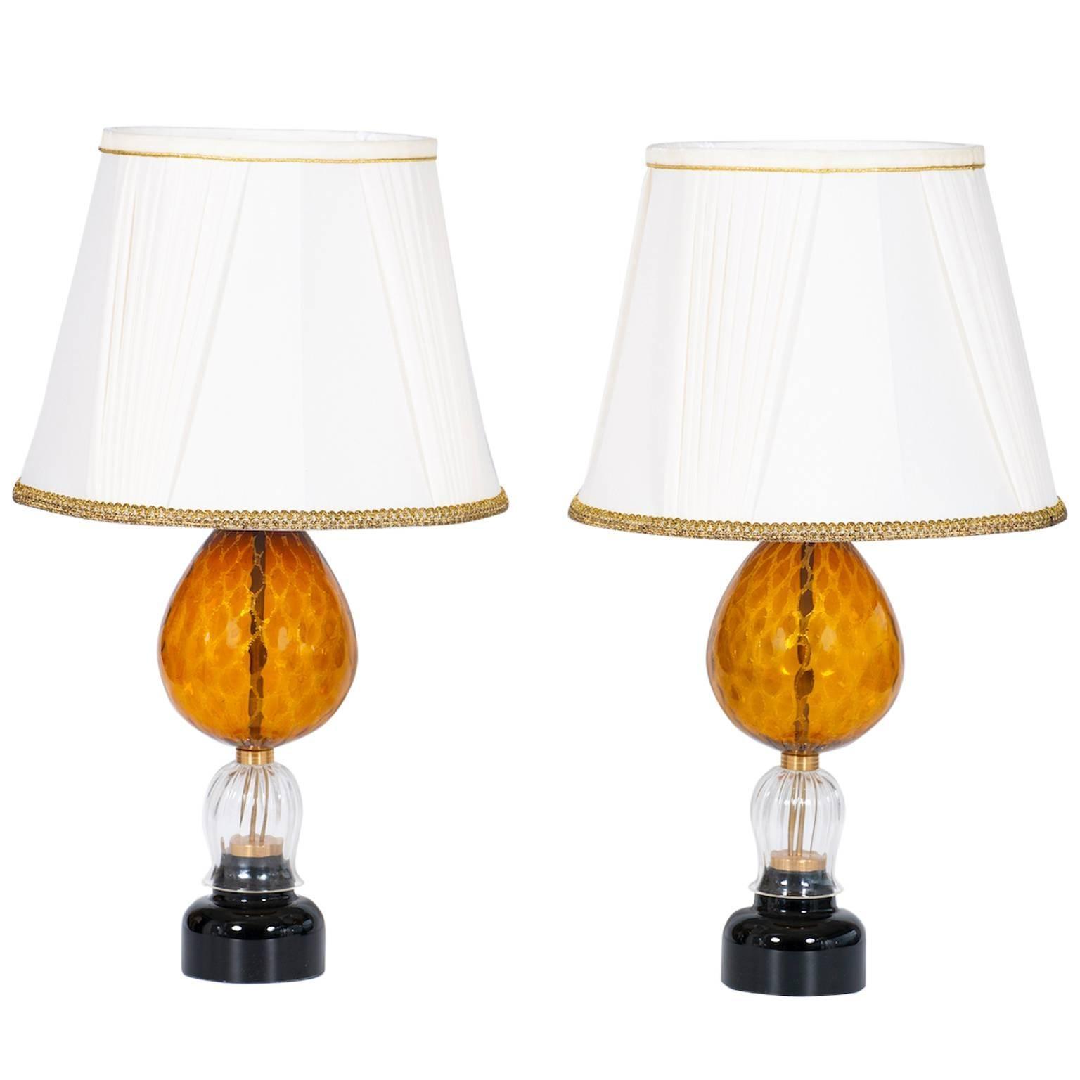 Italian Venetian, Pair Table Lamps, blown Murano Glass, Amber & Dark, 1970s