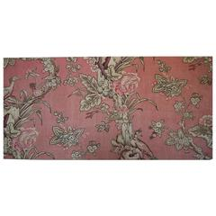 Birds and Roses Dusty Pink Linen Textile on Stretcher French 19th century