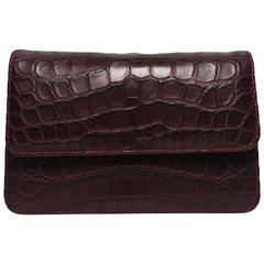Italian Leather Crocodile Embossed Burgundy Red Handbag, Italy