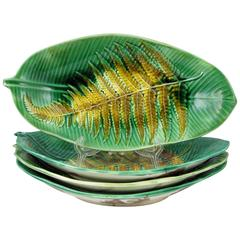 19th Century Wedgwood English Majolica Fern on Palm Leaf Shaped Trays