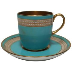 English 24-Karat Gold, Blue and White Espresso Cup and Saucer