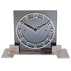 Large French Art Deco Mantle Clock in Chrome, Aluminium & Gray Mirror.