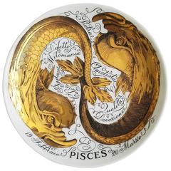 Vintage Piero Fornasetti Pisces Porcelain Zodiac Plate, Astrali Pattern, Pisces