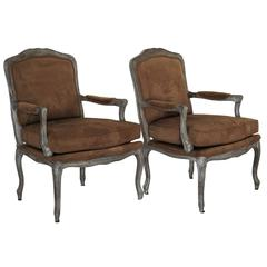 Pair of Ralph Lauren Silver Fauteuils Chairs with Brown Suede