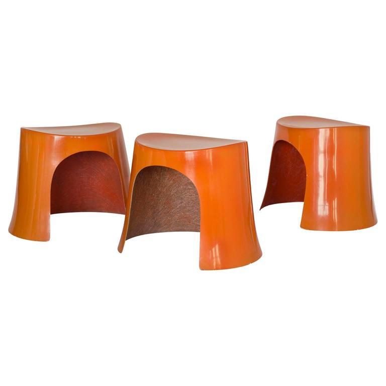 Nanna Ditzel, Set of Three Orange Fibreglass Stools, 1969