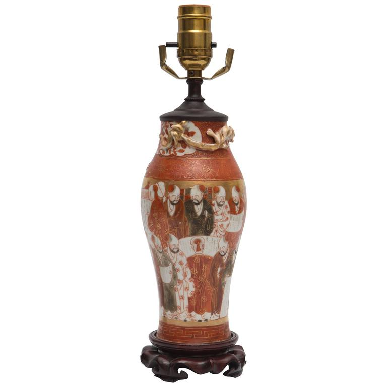 19th Century Canton Porcelain Lamp on Rosewood Base