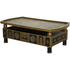 Asian Hammered Brass and Tacks on Wooden Coffee Table