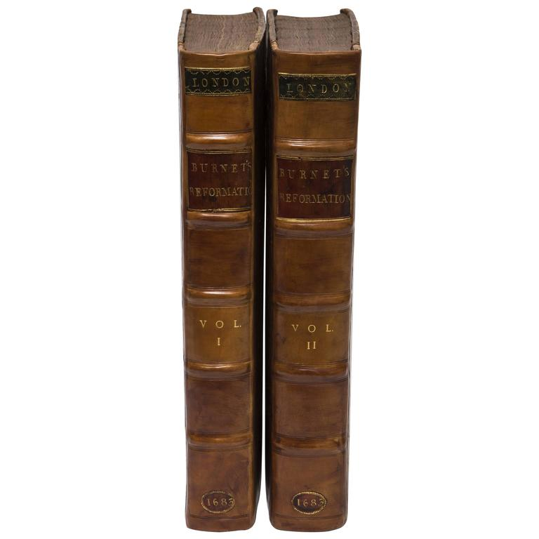 17th Century Leather Bound History of the Reformation Volume I and II For Sale