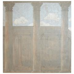 19th-20th Century Hand-Painted Tapestry with Columns