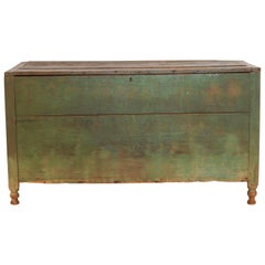 Blanket/Mule Chest with Aged Green Painted Patina Pre Civil War