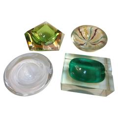 Collection of Four Murano Glass Ashtrays Bowls Sommerso, 1960s