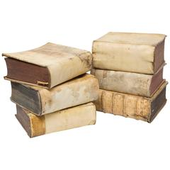18th Century Vellum Books in a Collection of Six Books