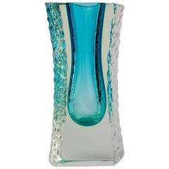 Large Textured and Faceted Murano 'Sommerso' Blue Ice Glass Vase by Mandruzzato