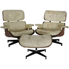 Pair of Mid-Century Herman Miller Eames Lounge Chairs with Ottoman
