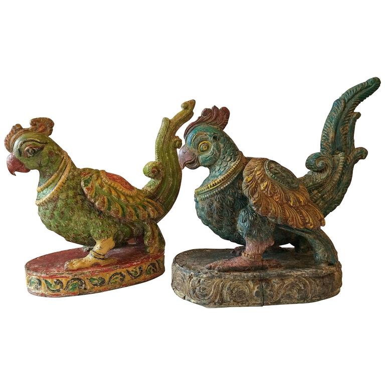 Two Carved and Painted Wood Birds