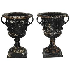 Pair of 19th Century Cast Iron Planters with Rope Designed Handles
