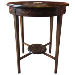 Antique Circular Side Occasional Table Edwardian Mahogany Wedgwood