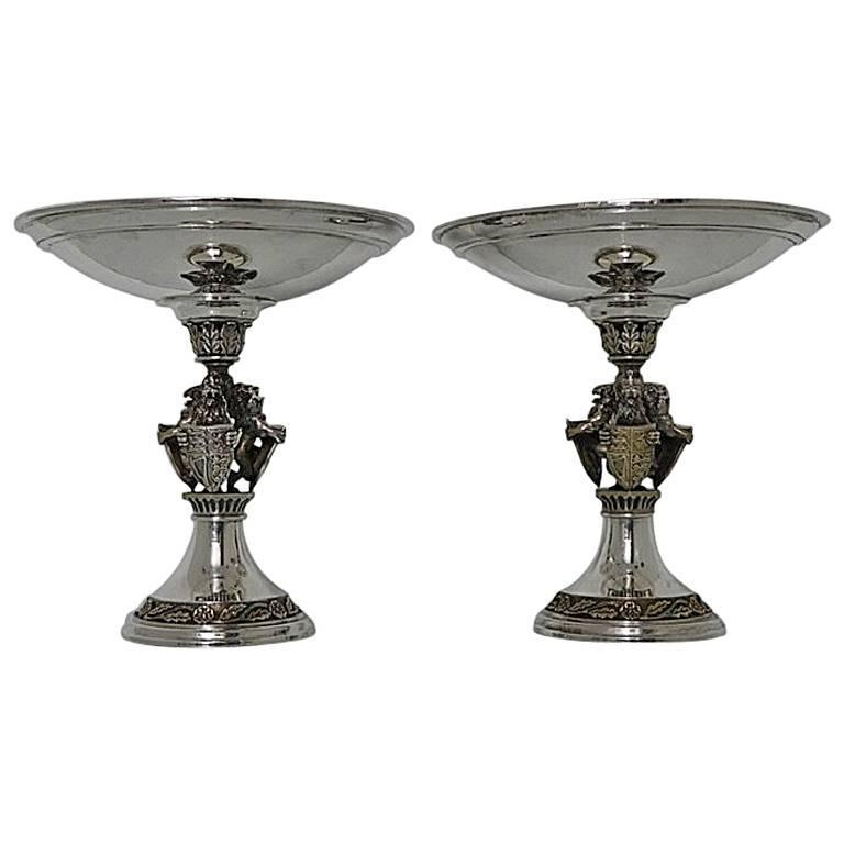Pair of Sterling Silver Commemorative Comports/Tazzas London 1985 Hector Miller
