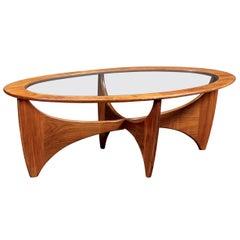 Oval Astro Teak Coffee Table with Glass Top by G-Plan