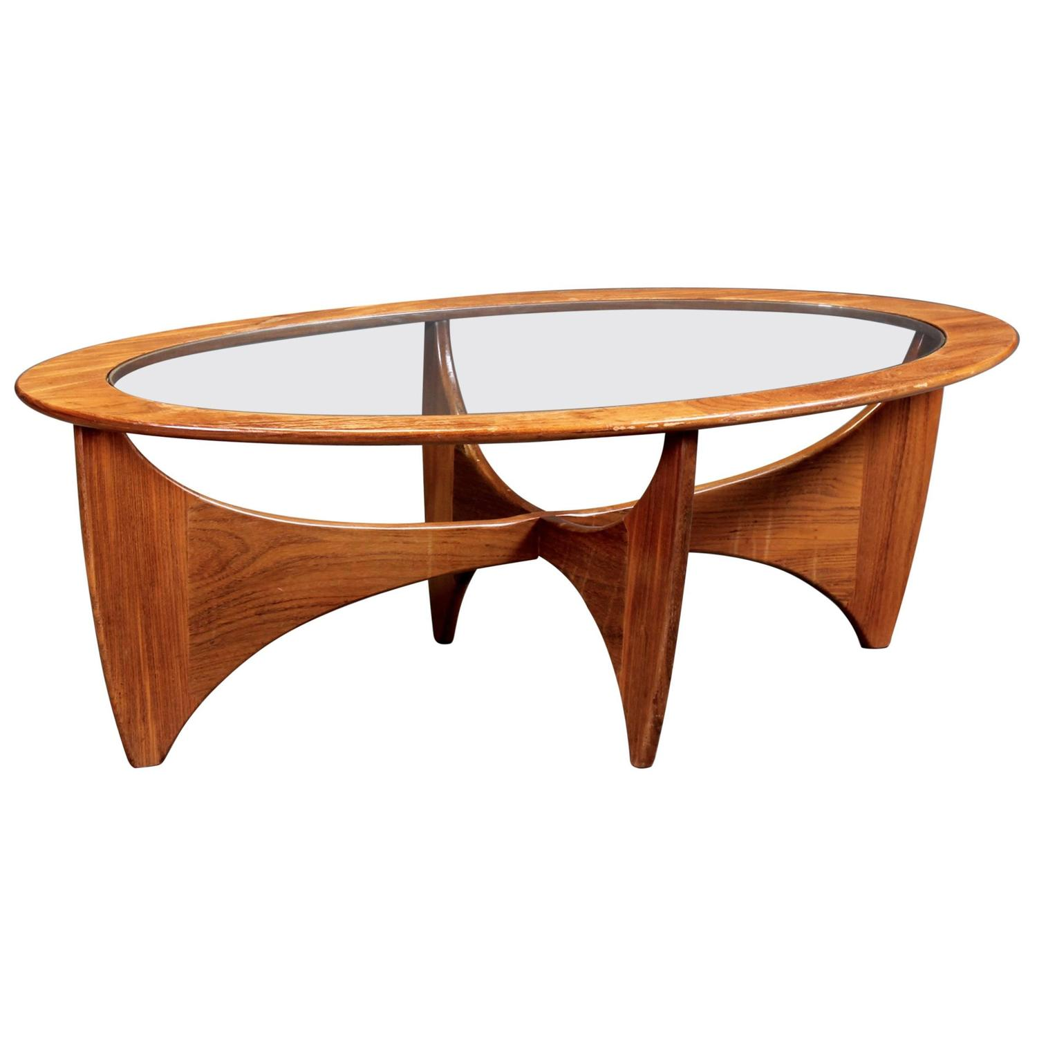 Oval teak coffee table with glass top by g plan for sale at 1stdibs geotapseo Images