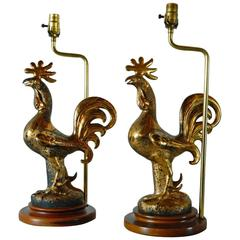 Pair of Sascha Brastoff Rooster Lamps